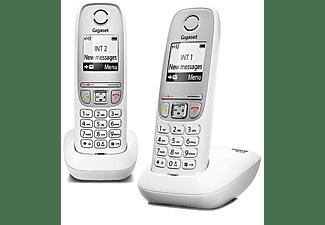 Teléfono inalámbrico - Gigaset DUO A415, Agenda 100 nombres, Marcación rápida, Blanco