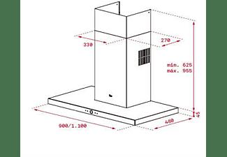 Campana - Teka Perfect A4 DLH985T, Decorativa, 90cm, 740 m³/h, 3 velocidades + Intensiva, Cristal