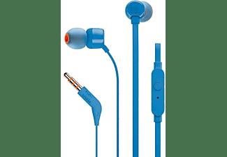 Auriculares botón - JBL T110, Pure Bass, Dentro de oído, Azul
