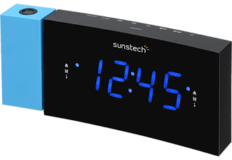 Radio despertador - Sunstech FRDP3, FM, Alarma Dual, 10 presintonías, Azul