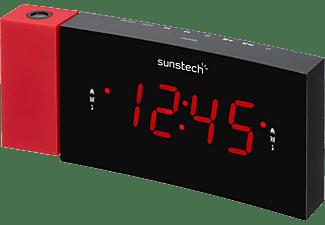 Radio despertador - Sunstech FRDP3, FM, Alarma Dual, 10 presintonías, Rojo