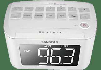 Radio despertador - Sangean RCR-24, AM/FM, Digital, 3.5 mm, Blanco