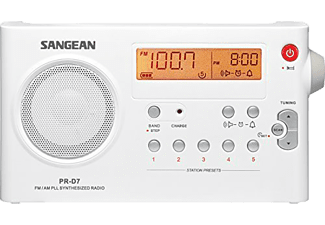 Radio portátil - Sangean Package PR-D7, FM/AM, Digital, Despertador, Blanco