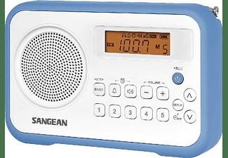 Radio portátil - Sangean PR-D18, FM-Estéreo, AM, Digital, Despertador, Blanco y azul