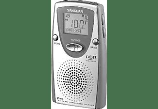 Radio portátil - Sangean DT-210,  AM/FM Estéreo, PLL, Altavoz incorporado, Plata