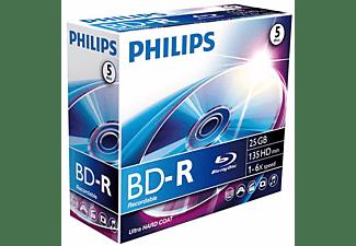 Disco Blu-ray grabable - Philips BD-R BR2S6J05C/00, 5 unidades, 25 GB