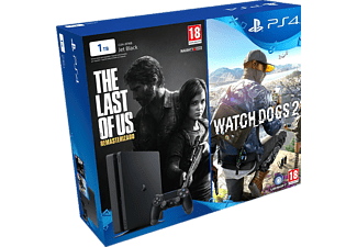 Pack - Consola Sony Ps4 SlimNegra, 1Tb, Dualshock + Watch Dogs 2 +  The Last Of Us Remasterizado