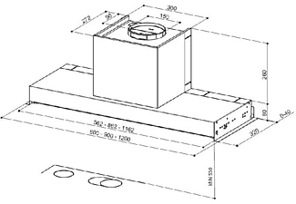 Campana - Mepamsa Secret 120, Extractora, 540 m³/h, 140W, Mando giratorio, 120 cm, C, Inox