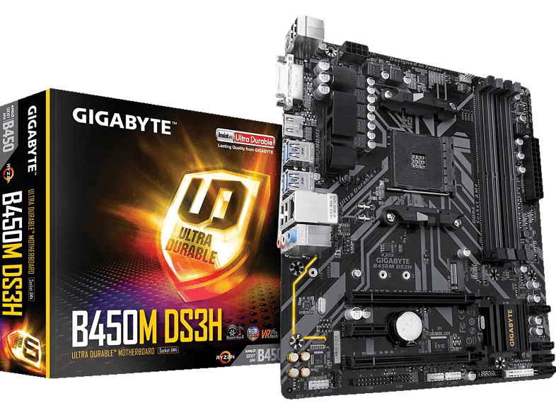 GIGABYTE B450M DS3H Mainboard Schwarz