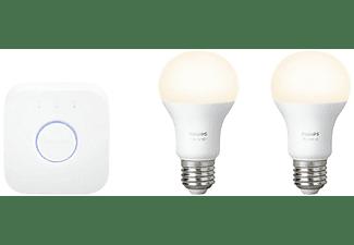 Kit bombillas - Philips Hue White, 2 bombillas inteligentes LED, Casquillo gordo E27
