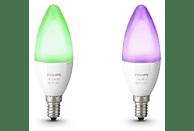 Pack 2 bombillas LED vela inteligentes E14 Philips Hue, Luz Blanca y de Color, Domótica