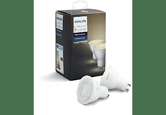 REACONDICIONADO Pack 2 bombillas LED inteligentes - Philips Hue GU10, luz blanca de cálida a fría, domótica