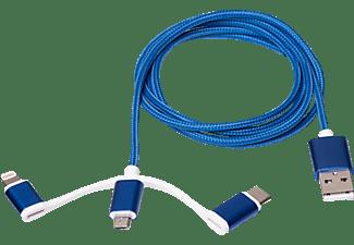 TRAVEL BLUE 3 in 1 - USB - Micro USB, Typ C & Lightning Ladekabel