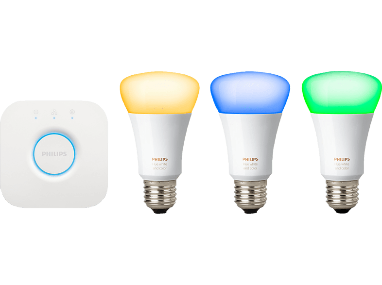 PHILIPS Hue White und Color Ambiance E27 L 3. Generation Starter Kit, Weiß
