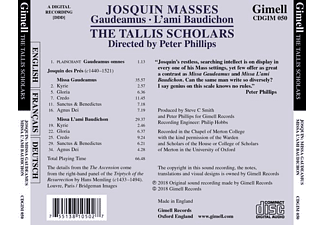 Tallis Scholars,The/Phillips,Peter - Messen-Gaudeamus-L'ami Baudichon  - (CD)