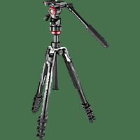MANFROTTO Befree Live Alu Dreibein Videostativ-Kit, Schwarz, Höhe offen bis 1510 mm