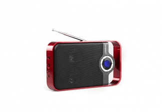 Radio Portátil - Sunstech RPDS250, Rojo, USB, Lector tarjetas SD
