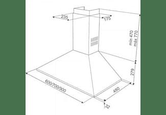 Campana - Teka 40460400 DBB 60, Decorativa, INOX, 3 velocidades, 380 m³/h, 60 cm, Inox