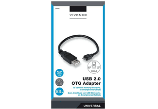 Cable - VIVANCO USB OTG, Adaptador, Micro USB - USB, 0.15 m, Negro