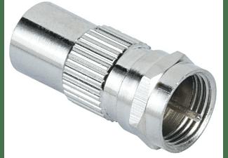 Adaptador - Hama SAT Adapter, Pasa de conector coaxial a F, Plata