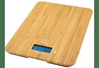 Balanza de cocina - Jata MOD. 720, Peso máximo 15 kg, Pantalla LCD, Función temporizador, Bambú