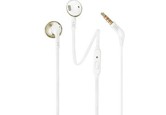 Auriculares de botón - JBL T205, Dentro de oído, Binaurale, Alámbrico, Champán y oro