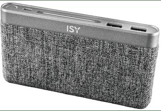 Power Bank - ISY IAP-5000, 10000 mAh, 2 ranuras USB, Carga simultánea, Gris