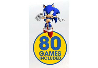 Consola retro - Pqube Games Sega Mega Drive, Ed. 25th Sonic, 2 mandos inalámbricos, 80 juegos