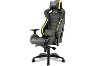 Silla gaming - Sharkoon Shark Zone GS10, Acolchada, Ajustable, Negro y amarillo