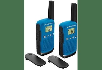 Walkie Talkies - Motorola TLKR T42, 2 Unidades, 16 Canales, LCD, Alcance 4 Km, Función Scan, AAA, Azul