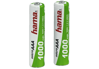 Pilas AAA - Hama, 1000 mAh, Batería NiMH, 1.2V, Recargables