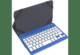 """Funda con teclado - Silver HT Gripcase, Para Tablet de 10"""", Bluetooth, Función de soporte, Azul"""