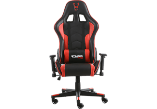 Silla gaming - Woxter Stinger Station Pro, Altura y reposabrazos ajustables, Rojo