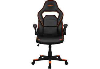 Silla Gaming - Drift DR75, abatible 15º, Reposabrazos regulable, Negro y naranja