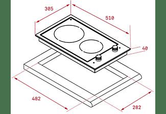 Encimera - Teka EFX 30.1 2H, Vitrocerámica, Eléctrica, 2 zonas, 18 cm