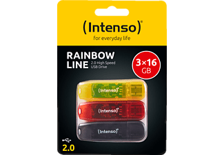 INTENSO RAINBOW 3er Pack USB-Stick, 16 GB, 28,00 MB/s, Schwarz, Rot, Gold
