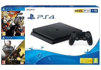 Consola - PS4 Slim 1 TB, + Dragon Ball Xenoverse y Xenoverse 2 + Darksouls 3 + The Witcher 3