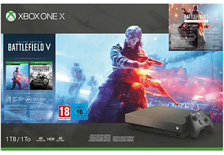 Consola - Xbox One X + Battlefield V- 4K, 12 GB, 6 Teraflops, 1 TB, Negro