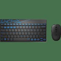 RAPOO 8000M, Maus und Tastatur Set, Schwarz/Blau