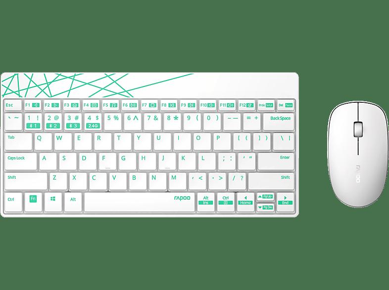 RAPOO 8000M, Tastatur-Maus Set, Weiß/Grün