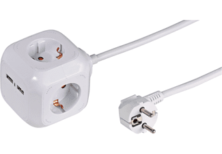 VIVANCO 4-fach Steckdosenwürfel mit 2 USB Ports, 1,4m, weiß