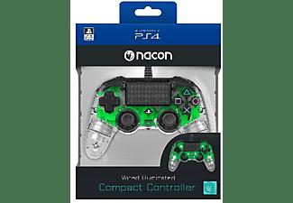 Mando - Nacon, PS4, Compact, Con cable, LED, Verde transparente