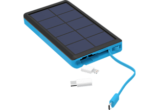 XLAYER PLUS Solar Powerbank mit Solarpanel 37 Wh (3.7V/10.000 mAh) Blau/Schwarz