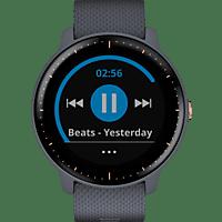GARMIN  VIVOACTIVE 3 MUSIC Smartwatch, Silikon, 127-204 mm, Granitblau mit Teilen in Roségold