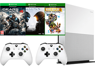 MICROSOFT Xbox One S 1TB (Inkl. 2 st Handkontroller, Gears of War 4, Halo 5 och Rare Replay)