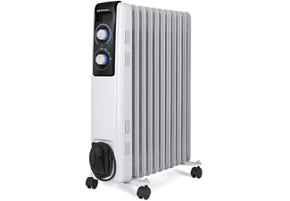 Radiador de aceite - Orbegozo RF 2500, Termostato, Sistema seguridad, 2500 W, LED, Blanco