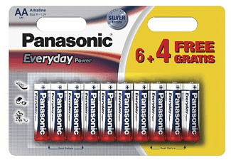 Pilas AA - Panasonic Everyday Power, Batería alcalina, 6+4 unidades