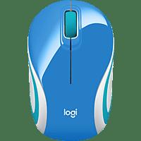 LOGITECH M187 Mini Maus, Blau/Orange/Weiß