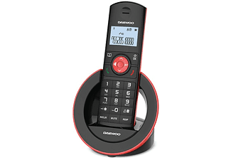 Teléfono - Daewoo Dect DTD-1400, Inalámbrico, Pantalla LCD, 50 números, Rojo