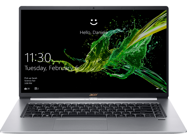 ACER Swift 5 (SF515-51T-70UX), Notebook mit 15.6 Zoll Display, Core™ i7 Prozessor, 8 GB RAM, 256 GB SSD, Intel® UHD-Grafik 620, Silber
